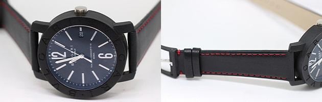 ブルガリ 表:R-01 (カーフプレーン ブラック) 裏:GU-02  (合皮) ステッチ有り